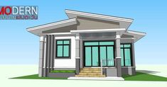 At first glance, you will fall in love with the color combination of paint that was used for the exterior of this house. The main color of white is contrasted with gray and orange that [. Best Small House Designs, Simple House Design, Single Storey House Plans, One Storey House, House Plans Mansion, Bungalow House Plans, Architectural House Plans, Architectural Features, Detached House