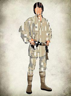 Luke Skywalker Print - Mark Hamill as Luke Skywalker from Star Wars Movie Series - Minimalist Illustration Typography Art Print  Poster