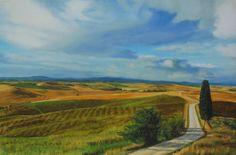 Ville di Corsano, Italy - Realistic scenic  landscape painting by Sue Birkenshaw  #art #scenic