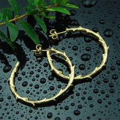 Gold Plated Hoop - Branch  #branch #earrings