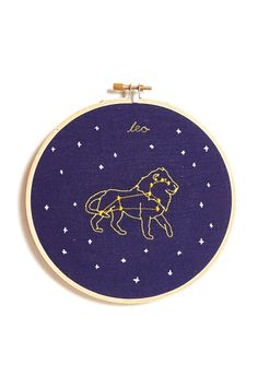 WHAT'S YOUR SIGN? Stitched with love by artist Mia Weiner in her Brooklyn studio. Embroidered on linen and in wooden a hoop, a zodiac embroidery is the perfect gift for anyone (including yourself!). A