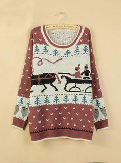 Sweet X'Mas Round Neck Sweater Red