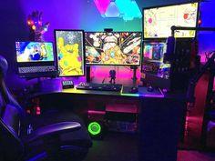 Gaming Room Setup, Computer Setup, Pc Setup, Computer Technology, Gamer Room, Pc Gamer, Kawaii Bedroom, Video Game Rooms, Game Room Decor