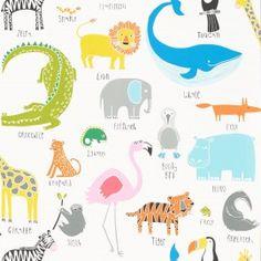 Scion Animal Magic Tutti Frutti/Chalk Wallpaper - 111287 - Guess Who Wallpapers Collection Tier Wallpaper, Feature Wallpaper, Baby Wallpaper, White Wallpaper, Print Wallpaper, Animal Wallpaper, Wallpaper Roll, Children Wallpaper, Animals
