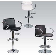 @Overstock - A stylish chrome bar stool is the perfect accent to bars or pub-height tables. The height of this stool adjusts between 22 and 32 inches. The swiveling seat is upholstered in polyurethane faux leather in your choice of black, white, or brown.http://www.overstock.com/Home-Garden/Manu-Adjustable-Height-Swivel-Stool/3822233/product.html?CID=214117 $137.99