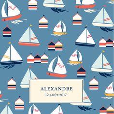 Humez les embruns du faire-part de naissance Bateau sur l'eau à travers ses doux motifs marins : petits voiliers, cabines de plage, ancres marines... Imaginée ...