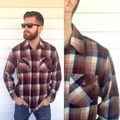 vintage men's flannel shirt, brown plaid, hipster style, retro 1970s, M