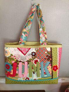 Junk bag tote  PDf download sewing pattern  www.jackieclarkdesigns.com
