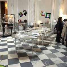 """SPECCHIO DI VENERE crystal table, design Massimiliano Locatelli - CLS Architetti, Glas Italia 2015 collection. On show at WUNDERKAMMER exhibition - lifestylestore """"Via Garibaldi 12"""" in Genoa. Until October 17, 2015 www.viagaribaldi12.com #specchiodivenere #massimilianolocatelli #clsarchitetti #glasitalia #colouredglass #viagaribaldi12"""