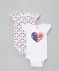 Another great find on #zulily! Patriotic Sweetheart Bodysuit Set - Infant #zulilyfinds