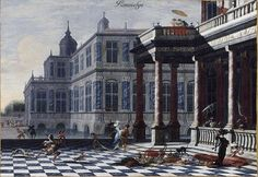 Jacobus Ferdinandus Saey Perspective view of a Italian palace animated with figures and gallant celebrations 1690   oil on canvas  58.2 × 84 cm (22.9 × 33.1 in) Current location  Musée des Beaux-Arts, Valenciennes