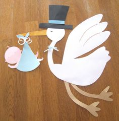 Custom Stork and Baby Die Cut - Large 15 inch size for baby shower decoration - You pick the colors. $13.00, via Etsy.