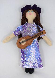 Hippie Doll With Guitar  Rockin' Doll  Art Doll  Toy Doll