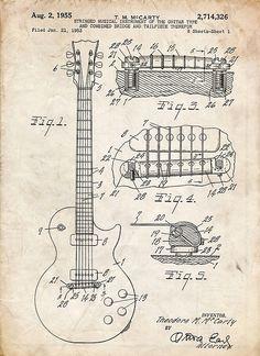 Gibson Les Paul Guitar US Patent Art 1955