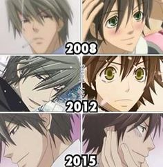 Junjou Romantica. To be honest, I liked the way they animated Akihiko in the first two better. The square chin iw just him !!