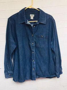 4a165a722d LL Bean Women s Denim Jean Button Down Shirt Siz M Petite L S Dark Blue