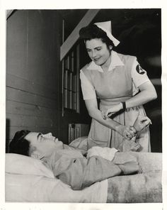 1943- Mrs. Elliot Roosevlet, daughter-in-law of the President, does her part in war effort working as Red Cross nurse at the Combat Crew School at Tarrant Field, Texas.