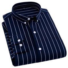 Mens Work Shirts, Casual Shirts For Men, Men Casual, Men Shirts, Formal Shirts, Long Sleeve Fitted Dress, Striped Long Sleeve Shirt, Striped Shirts, Slim Fit Dress Shirts