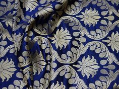 Navy Blue Crafting Fabric Indian Brocade Fabric by the Yard Wedding Dress Banarasi Fabric Bridal Dress Material Sewing Lengha Home Décor - Brocade Silk / Chandari - Wedding Christmas Wedding Dresses, Wedding Dress Crafts, Rustic Wedding Dresses, Colored Wedding Dresses, Modest Wedding Dresses, Boho Wedding Dress, Wedding Wear, Bridal Dresses, Wedding Gowns