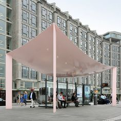 "These two Rotterdam bus shelters were designed by Dutch studio Maxwan with ""razor-thin"" rooftops reminiscent of billowing fabric."