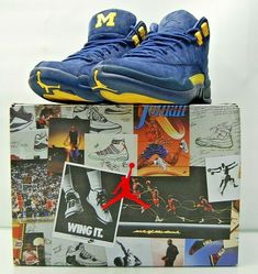 eda497b900a101 (eBay Sponsored) Nike Air Jordan 12 Retro XII Michigan College  Navy Amarillo BQ3180