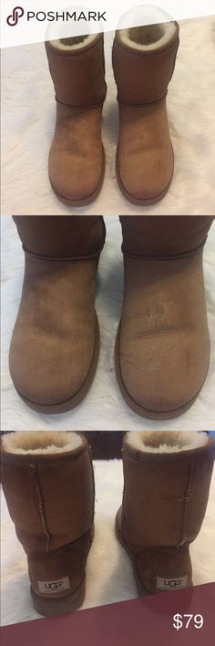 UGG Australia Chestnut Brown Short Boots UGG Australia Short Chestnut Brown Boots. Size: 8. In good condition. Have been lightly cleaned with UGG cleaning products which is why they may feel a bit stiff in texture but they loosen up with wear. Have plenty of wear life left. Great boots if you don't want to pay full price. Feel free to ask any questions. Fast shipping! UGG Shoes Winter & Rain Boots
