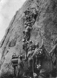 An Italian alpine unit on the move during the Italian Campaign (or the Mountain War), 1915