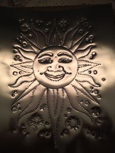 Sun is ready to be installed on the center sliding door of our under-the-deck storage cabinet. Punched Tin Patterns, Deck Storage, Pressed Metal, Sun Moon Stars, Metal Tins, Big Project, Landscape Lighting, Sliding Doors, Metal Art