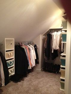9 Far-Sighted Cool Ideas: Attic Staircase In Closet attic design slanted walls. Attic Apartment, Attic Rooms, Attic Playroom, Attic Spaces, Small Spaces, Attic Library, Attic Office, Slanted Ceiling Closet, Slanted Walls