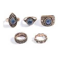 Blue Turquoise Ring Set|Disheefashion (120 ZAR) ❤ liked on Polyvore featuring jewelry, rings, green turquoise ring, turquoise jewellery, blue ring, green turquoise jewelry and blue turquoise ring