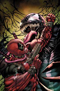 Deadpool versus Venom by Alex Kotkin Deadpool Wallpaper, Marvel Wallpaper, Marvel Comic Universe, Comics Universe, Dc Comics Superheroes, Marvel Heroes, Marvel Fanart, Wolverine Art, Logan Wolverine
