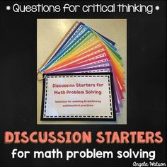 BEST SELLER!! This product has 14 printable cards with question stems and prompts you can ask during problem solving activities to promote critical thinking