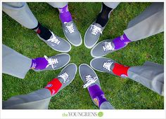 Strawberry Farms Wedding, Photography by The Youngrens  groomsmen socks representing their fave sports team
