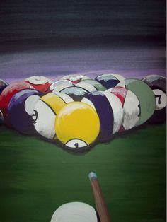 Acrylic painting on canvas billiards  pool by GraphicsandPigments, $40.00