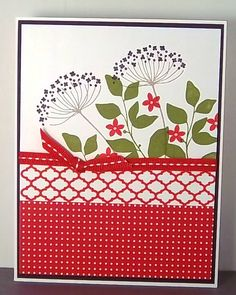 handmade card ... Summer Silhouettes stamp set .. really pretty with the red paper and ribbon ... like the combo of lacy flower and solid leaves and small flowers ... great card!!! ...Stampin' Up!