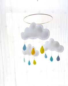 """Spring Cloud mobile for nursery """"Sydney"""" by The Butter Flying. $48"""