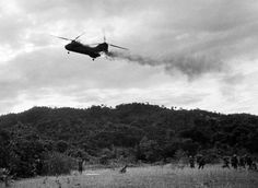 Marine Sea Knight helicopter comes down in flames after being hit by enemy ground fire during Operation Hastings just south of the demilitarized zone between North and South Vietnam on July 15 x Vietnam History, Vietnam War Photos, Marine Corps, Ulsan, Chevy, North Vietnam, Naval, Us Marines, American War