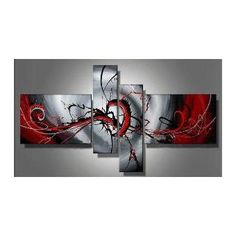 Wieco Art - Hand-painted Modern Abstract Wall Art Stretched and Framed Abstract Oil Paintings on Canvas Modern Oil Painting, Oil Painting Abstract, Oil Paintings, Modern Paintings, Painting Canvas, Painting Tips, Abstract Watercolor, Abstract Canvas Wall Art, Wall Canvas