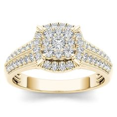 De Couer 10k Yellow Gold 1/2ct TDW Diamond Cluster Halo Engagement Ring (H-I, I2) (Size-6.5), Women's, Size: 6.5