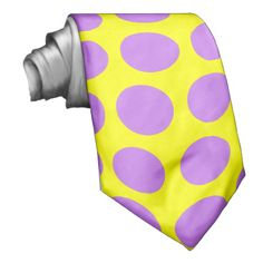 Yellow with Purple Polka Dots Tie