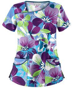 Neck Pattern, Top Pattern, Dental Uniforms, Stylish Scrubs, Green Scrubs, Scrubs Uniform, Fashion Prints, Style Fashion, Scrub Tops