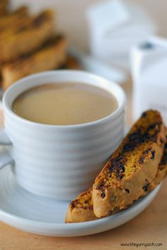 This Pumpkin Chocolate Chip Biscotti recipe is the perfect dessert to enjoy this fall with a cup of coffee! They would also work as a homemade gift idea!