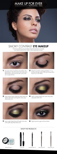 Smoky Contrast Eye Makeup - use this technique to give the illusion of a larger, more round and defined eye.