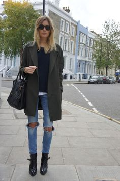 boyfriend coat and ripped jeans