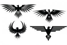 XOO Plate :: 4 Eagle Symbol Tattoo Style Vector Graphics - 4 Eagle symbols with spread wings - tattoo style - in vector Ai and Eps. Simbolos Tattoo, Symbol Tattoos, Tatoo Art, Body Art Tattoos, Wiccan Tattoos, Chicano Tattoos, Inca Tattoo, Tattoo Outline, Wrist Tattoo