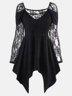 Long Lace Sleeve Tunic Handkerchief Top, BLACK, L in Long Sleeves | DressLily.com