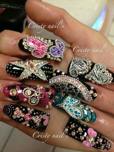 I love the creativity on nails like these, if I tried these I could nrverbbe that creative. These are a little too much for me personally but its nail art and I can NOT knock that. Crazy Nail Art, Crazy Nails, Fancy Nails, Bling Nails, 3d Nails, Love Nails, Pretty Nails, Nail Art Designs, Long Nail Designs