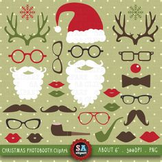 """Christmas Clipart """"CHRISTMAS PHOTO BOOTH""""pack, Spectacles,Rudolph Antlers,Santa Hat,Lips,Beard,Mustache,invitations,scrapbooking Crs003 by SAClipArt on Etsy https://www.etsy.com/uk/listing/198940712/christmas-clipart-christmas-photo"""