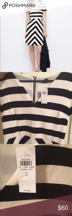 Ann Taylor Mixed Stripe Knit Dress Authentic, new with tags and never worn, Ann Taylor Mixed Stripe Knit Dress. Classic in black and white. Stylish, textured ottoman knit dress with mitered stripes that flatter from every angle. Features split neck, short sleeves and exposed, light gold back zipper. Lined bodice. Great for a day at the office and can easily transition for dinner and drinks at night. Just add a pop of color with shoes/accessories or a bold lip for a touch of fun! Ann Taylor…