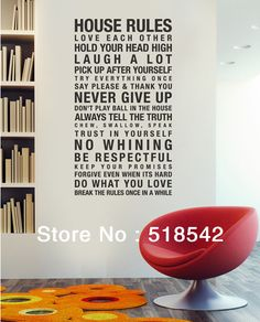 Free Shipping:Hot Selling HOUSE RULES English Vinyl Wall Decals/Removable Waterpoof Wall Stickers/Wall Quotes size:60*120cm-in Wall Stickers from Home & Garden on Aliexpress.com